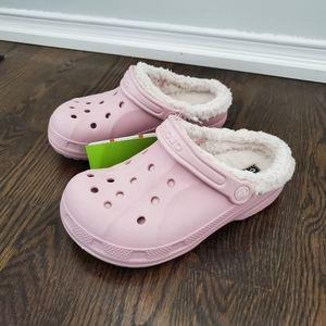 Crocs Lined Pink Clogs NEW Size 3 J 5